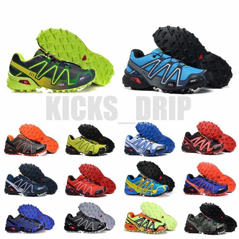 بيع سرعة الصليب 3 CS في الهواء الطلق الرجال الاحذية speedcross الأسود المدربين الأخضر الرجال الرياضة أحذية رياضية مع الجوارب العلامات