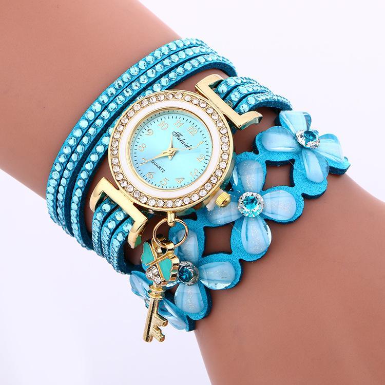 Moda Gran cadena de flores Pulsera Reloj de las señoras Vestido de cuarzo Relojes de cuarzo TAG TAGE BLOSOM CISTAL CISTAL CISTAL LOND BRAZANTES Pulseras Reloj de pulsera