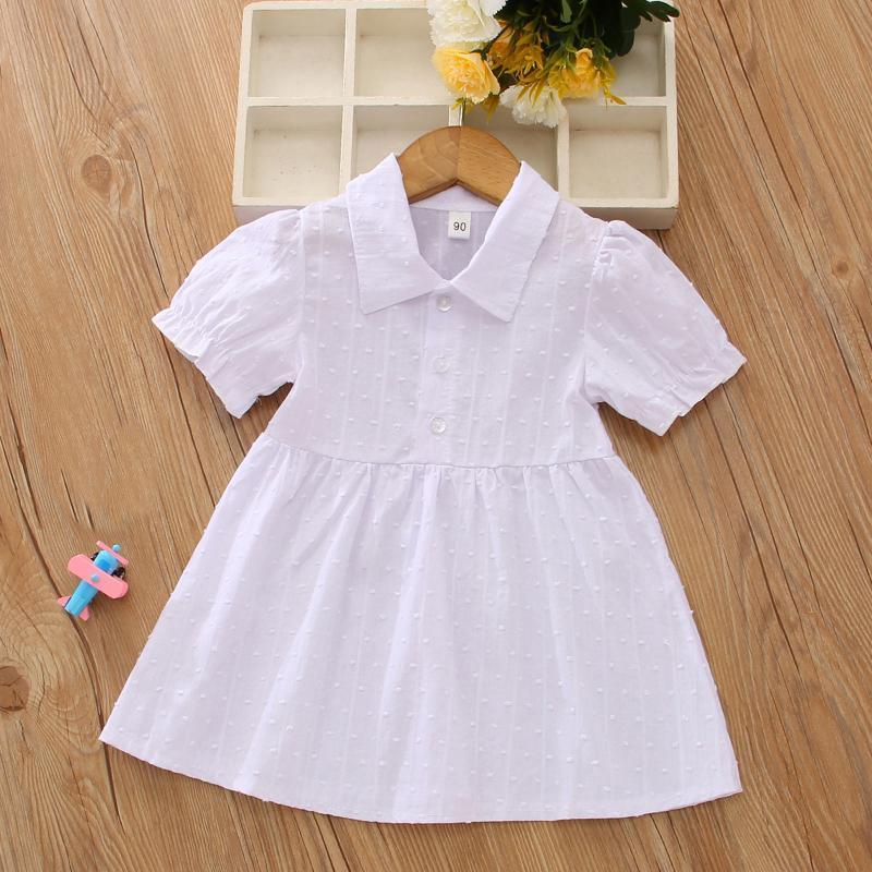 Vestidos de niñas vestido para niñas 2 años 3 niños niños manga corta solapa sólido vestidos princesa ropa blanca