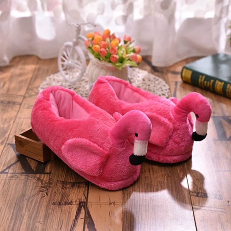 Invierno Mujeres Interior Zapatillas Flamingo Mules Piel Plush Plataforma Caliente Dibujos Animados Resbalón en Unisex Home 2022W