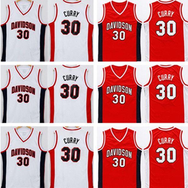 NCAA Davidson Wildcats 30 الكاري كرة السلة ارتداء الفانيلة الأحمر مخيط ستيفن كلية جيرسي الرجال اللون فريق التطريز لمحبي الرياضة