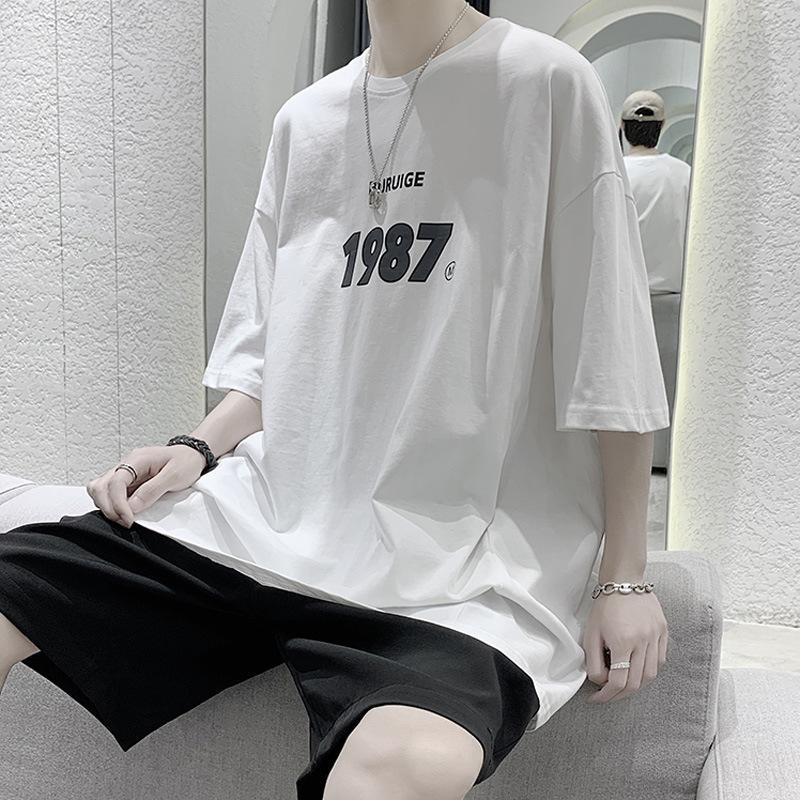 Короткая мужская корейская свободная простая половина рукава модный бренд ins ins ins ins ins