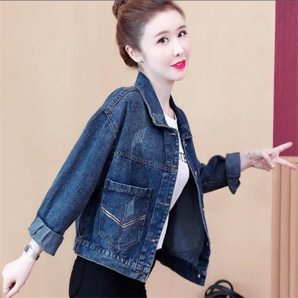 2021 Giacca da donna in primavera e autunno Denim Breve Giacche ricamato coreano Giacche Top Abbigliamento Top Cappotti Cappotti Cappotti