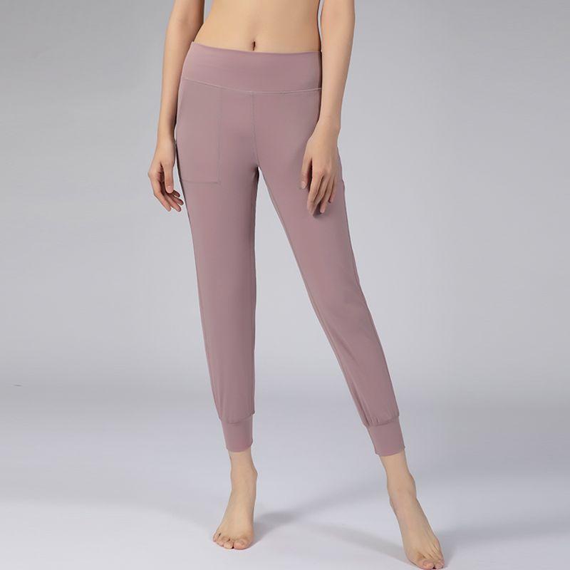 벌거 벗은 느낌의 패브릭 요가 바지 여성 느슨한 맞는 스포츠 활성 백 허리 라운지 조깅 버터 부드러운 레깅스와 두 개의 사이드 포켓