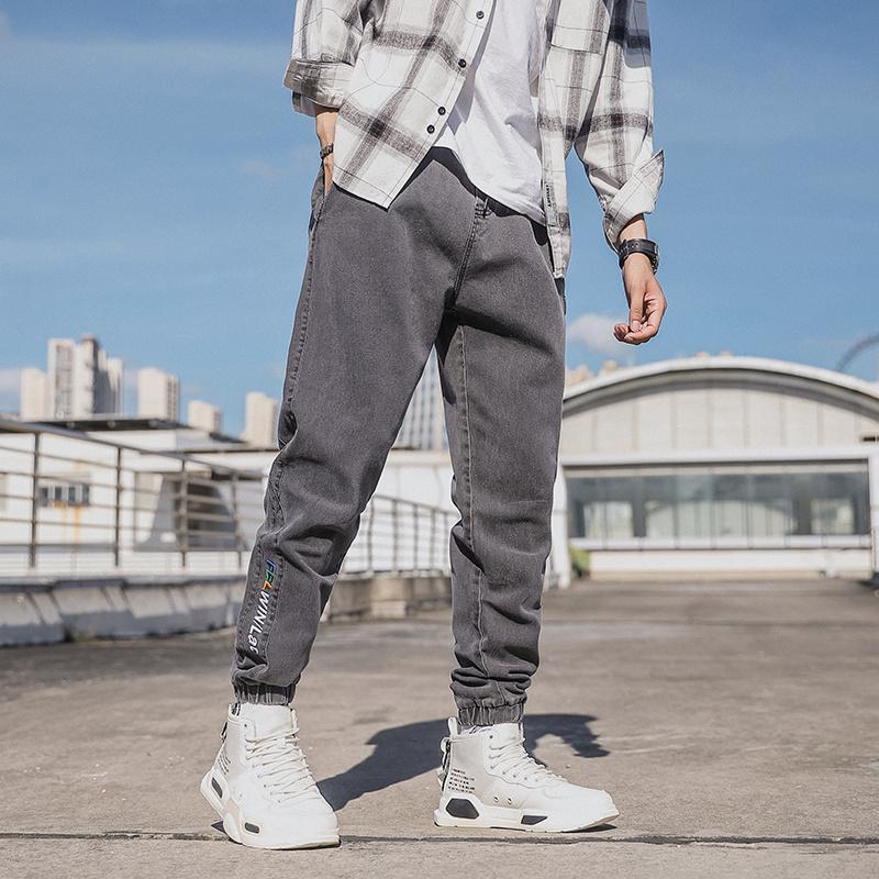 M-8XL Boy Gevşek Kot erkek Ayak Bileği Uzunluğu Rahat Harem Pantolon İnce Yüksek Pamuklu Denim