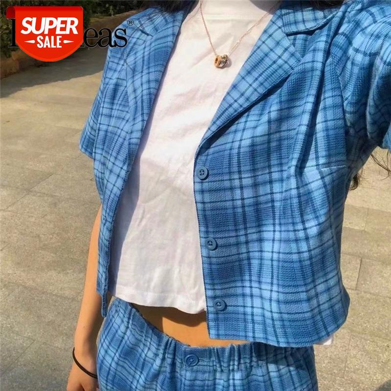 Harajuku 3 botões Ropa Mujer Streetwear Tartan azul colhido cupido blusa de blusa moda desligada blusa mulheres colheita top # dr3n