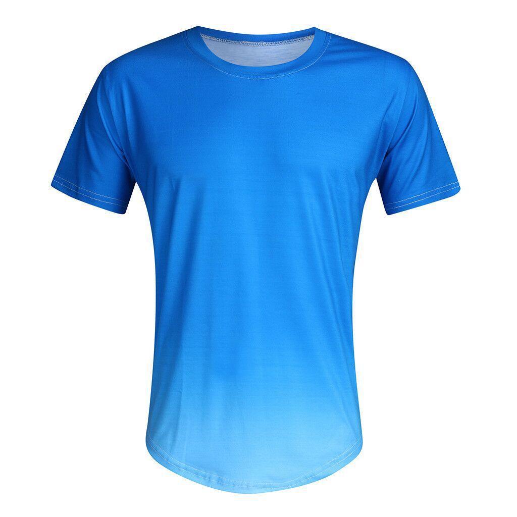 Erkek T Gömlek Yaz Açık Moda Spor Giyim Ince Nefes Yuvarlak Yaka Kademeli Trend Kısa Kollu