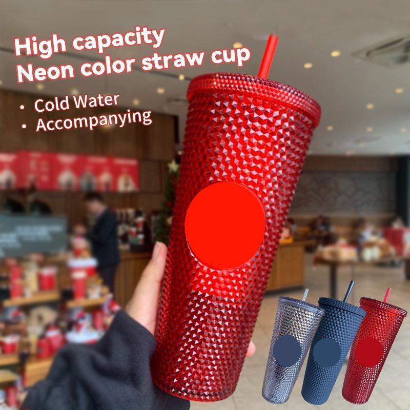 700 ml Kişiselleştirilmiş Starbucks Soğuk Kupası Tumbler Yanardöner 24 Bling Gökkuşağı Unicorn Çivili Kahve Kupa Ile Saman 2021 Temmuz YENI