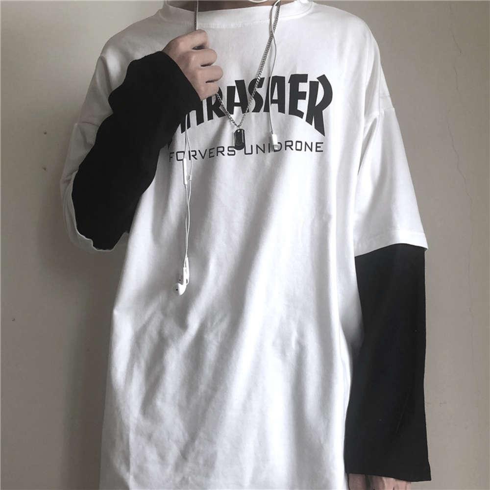 Camisa polo de outono manga comprida para estudantes do sexo masculino com pescoço redondo e impresso falsificação Dois jovens marca solta par fundos