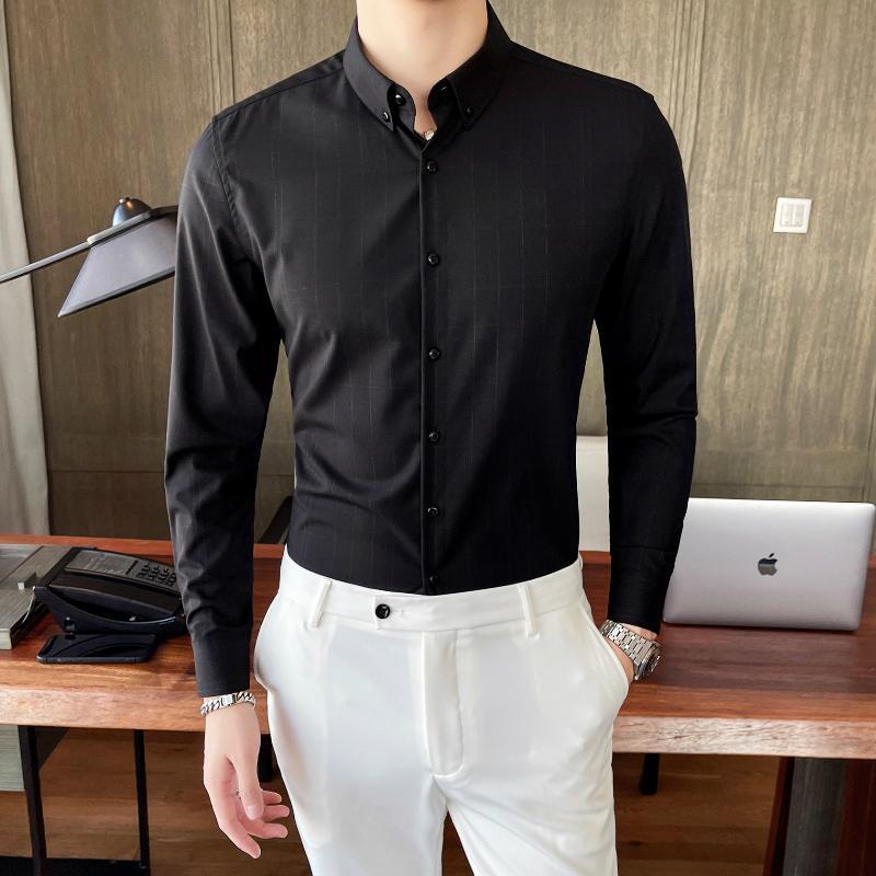 긴 소매 남자 셔츠 비즈니스 캐주얼 정장 드레스 셔츠 소프트 컴포트 슬림 블라우스 옴 메이 남성 의류 영국 스타일