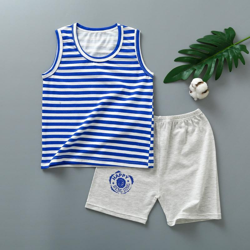 Ensemble d'été de garçon de bambin mignon 2021 Chemise à manches courtes à rayures à rayures de dessin animé + pantalon pour enfants pour bébés garçons vêtements vêtements