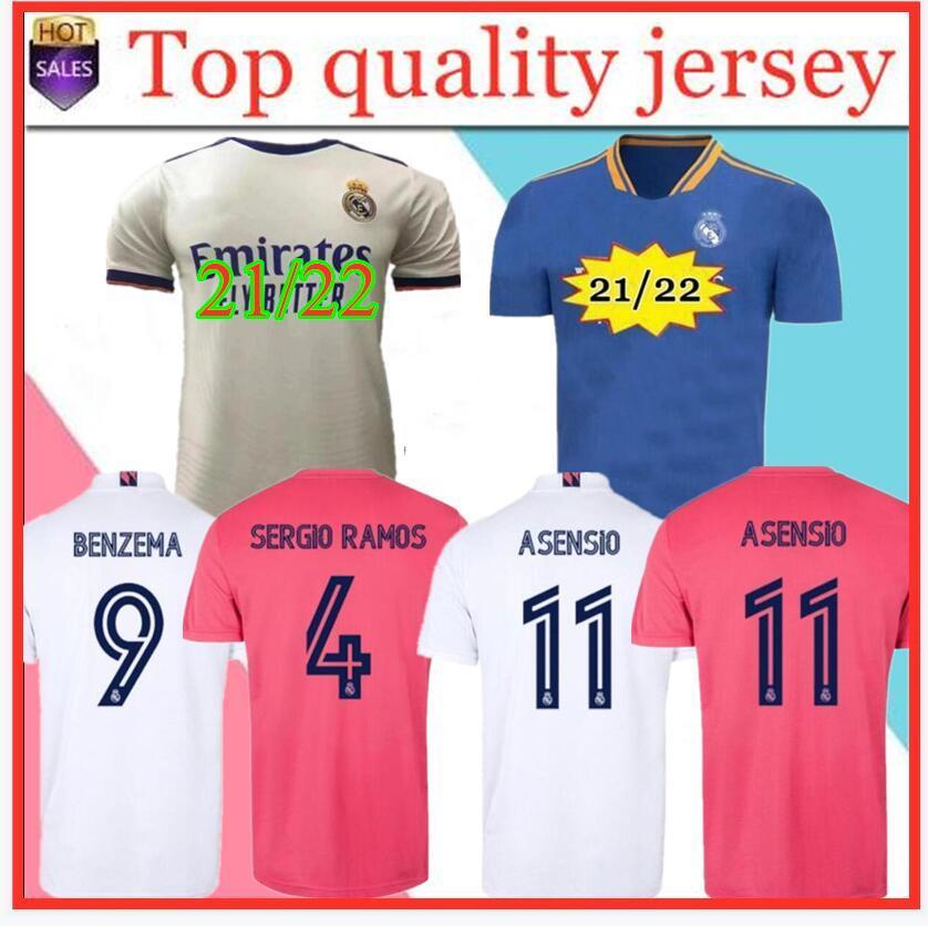 Podsycal Real Madrid Jerseys 21 22 Fussball Fußball Hemd Haaland Sergio Ramos Benzem Camiseta Männer + Kinder Kit 2020 2021