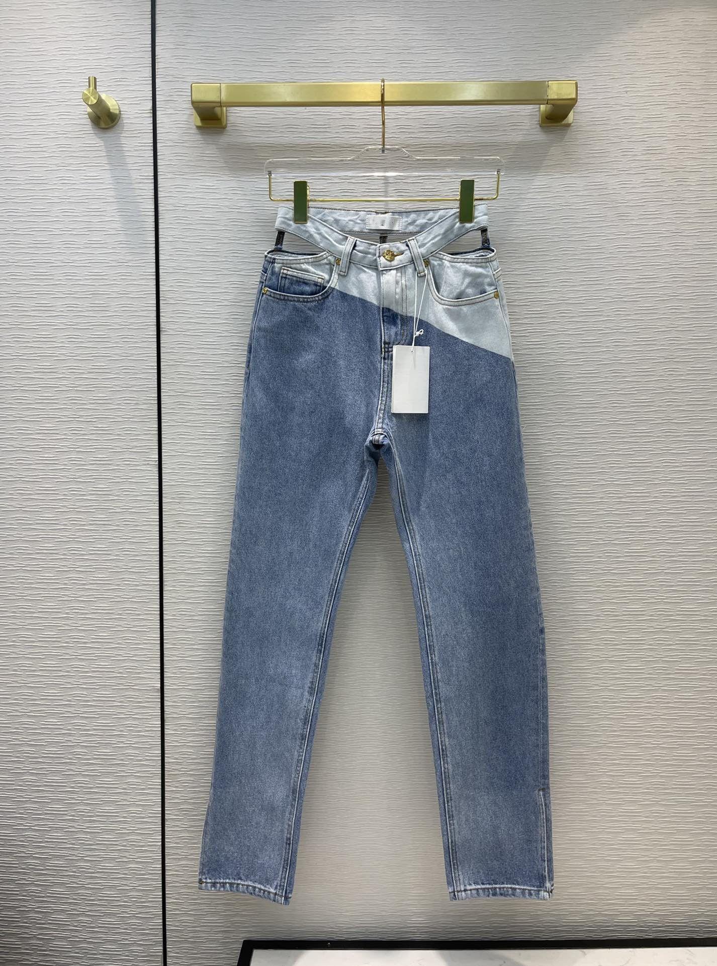 Milan Pist Jeans 2021 Sonbahar Moda Panelli Tasarımcı Düz Kot Marka Aynı Stil Lüks Kadın Kot 0719-7