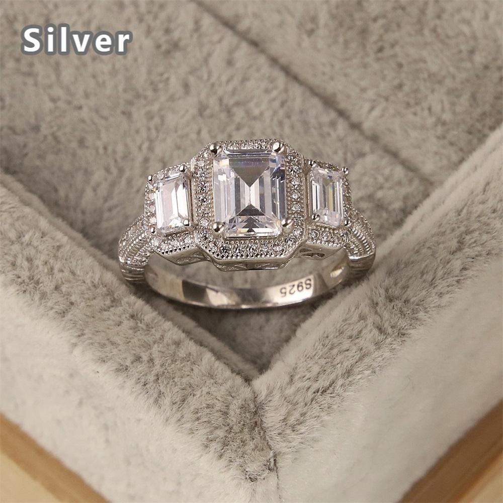 Venta caliente en Europa y la moda 925 Anillo de plata esterlina Lujoso MS White Zircon Tres Joyas de cristal cuadradas Regalos