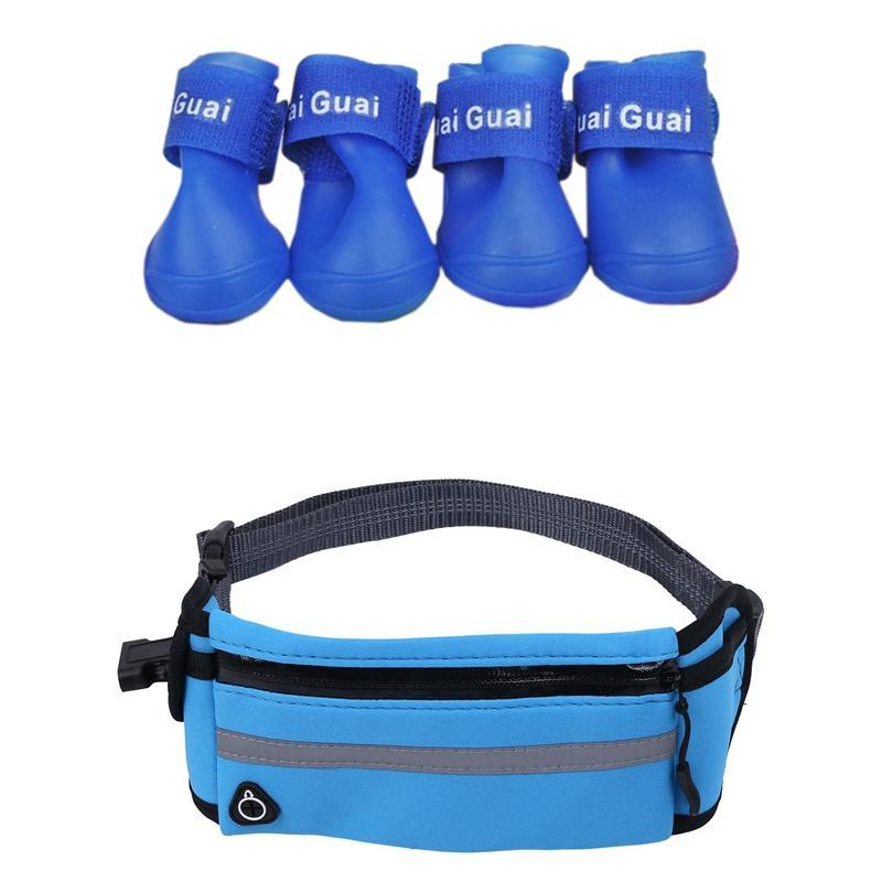 Blue L, Pet Shoes Booties Rubber Dog Waterproof Rain Boots With Hands Free Running Leash Collars & Leashes