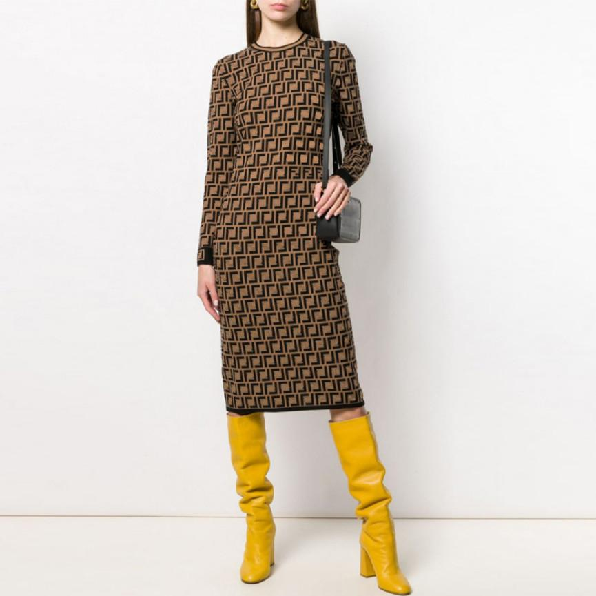 FF Casual Dresses Classic vintage Knit Dress Fashion Letter women Pattern knitted long Sleeve High Quality Womens Clothing crew neck autumn knits