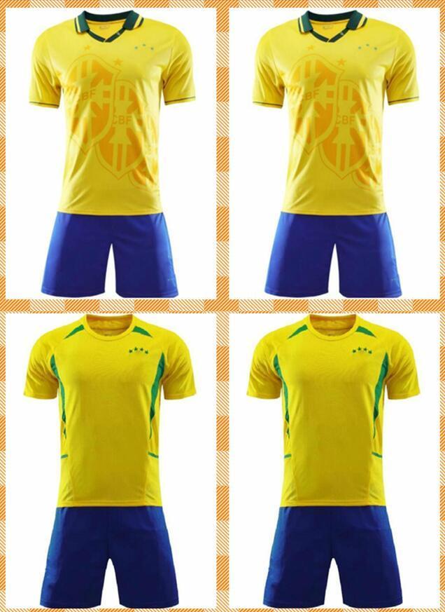 Adulto Kids Kit 1994 2002 Brasil Retro Jerseys Vintage Ronaldo 9 Rivaldo 10 R.Carlos 6 Ronaldinho 11 Brazilde Uniformes Camisa de Futebol Camiseta Futbol