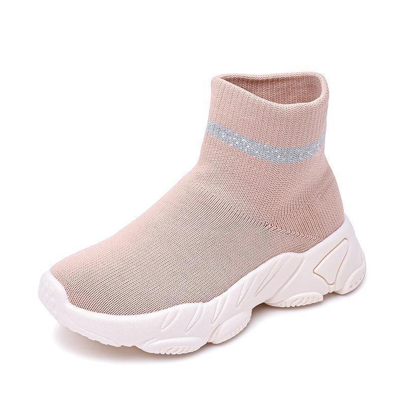 Moda Bebek Kız Erkek Sneakers Toddler Bebek Bahar Rahat Ayakkabılar Yüksek Üst Örme Örgü Nefes Çocuk Çorap Ayakkabı Açık Eğitmenler