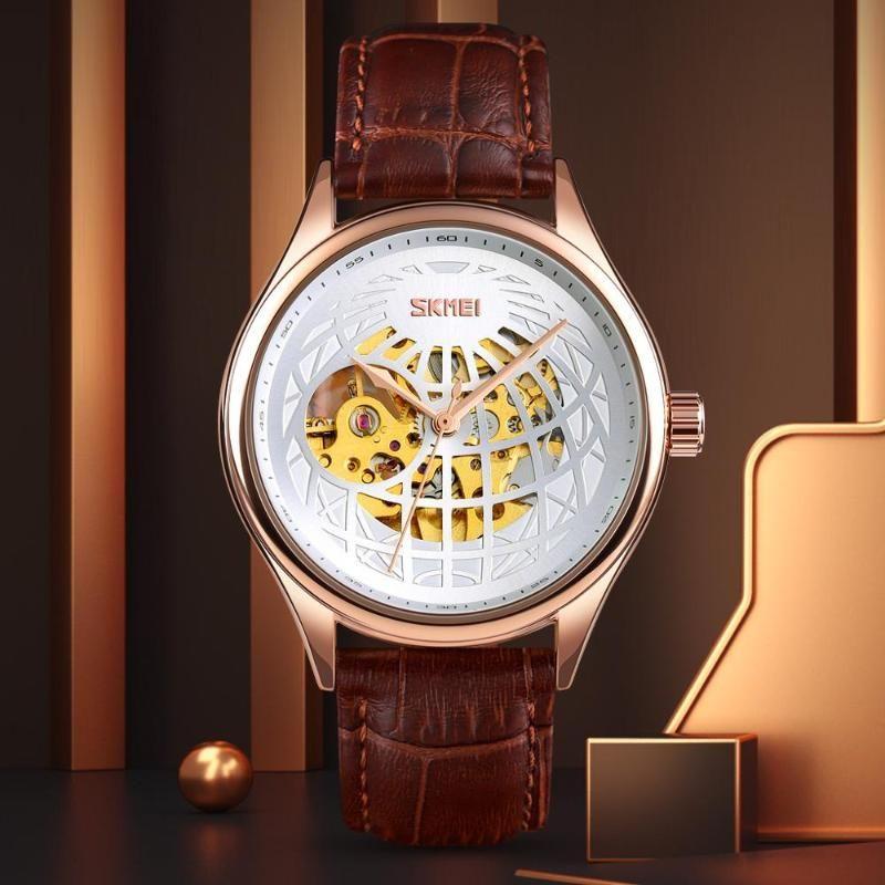 Automatische Uhr-Mann-Uhr-Mode Mechanical für Männer Quarz Uhren Herren Lederband Wasserdichte Armbanduhren