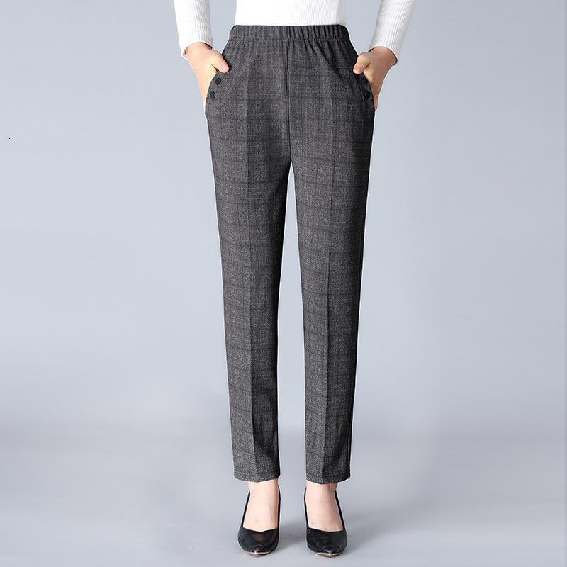Primavera velha alta e calças de cintura Meio envelhecido mulheres em linha reta casa de mãe de outono