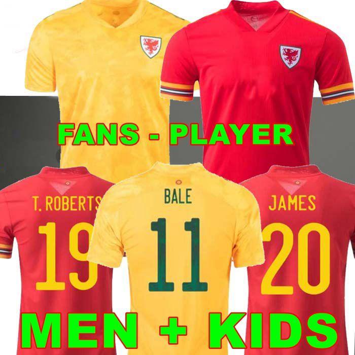لاعب نسخة 2021 ويلز لكرة القدم الفانيلة المنزل بعيدا Bale James Ramsey Men Kids Mailleot De Football Shirts Allen Wilson Vokes روبرتس Camiseta Futol Offe