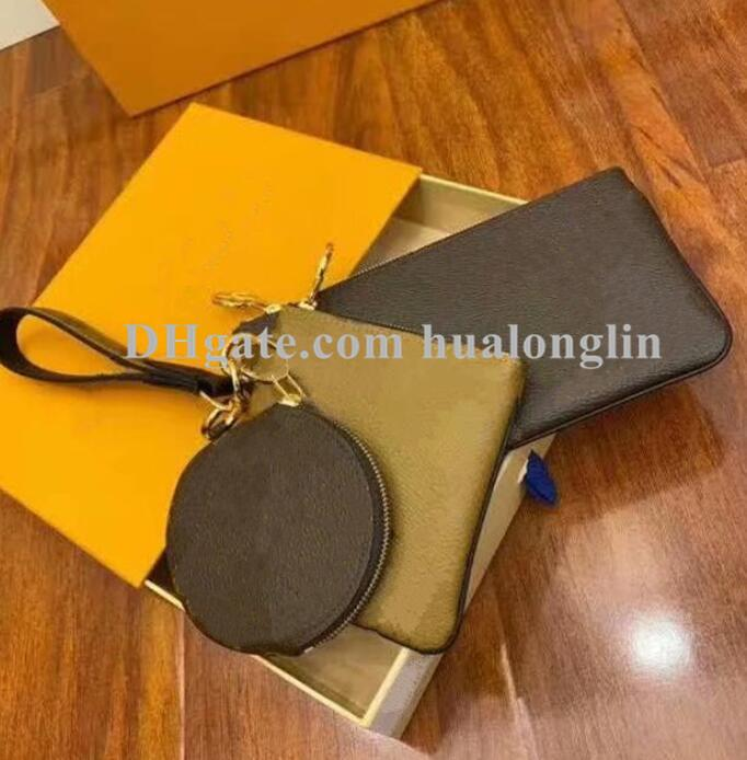 Mulheres Handbag Bolsa Cosméticos Caixa Original Caixa de Alta Qualidade Letras Bolsa Embreagem Três Em Uma carteira