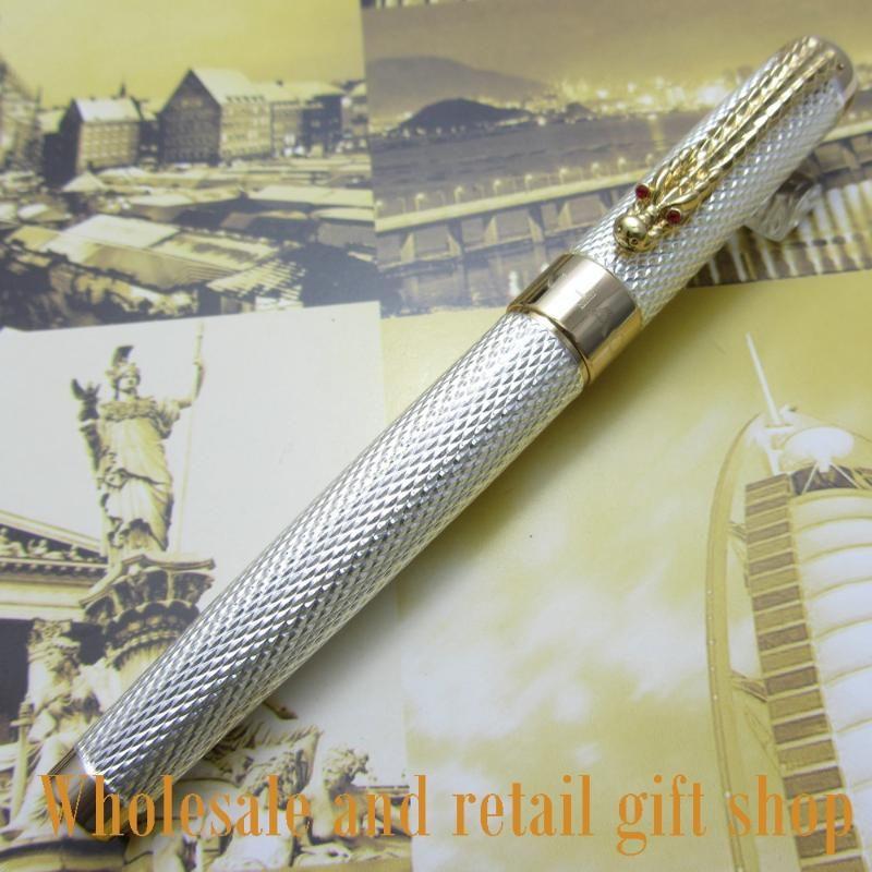 Promozione all'ingrosso Jinhao Noblest Gold Carver Dragon M Nib Ink Pen Pen Metallo Regalo Penne fontana