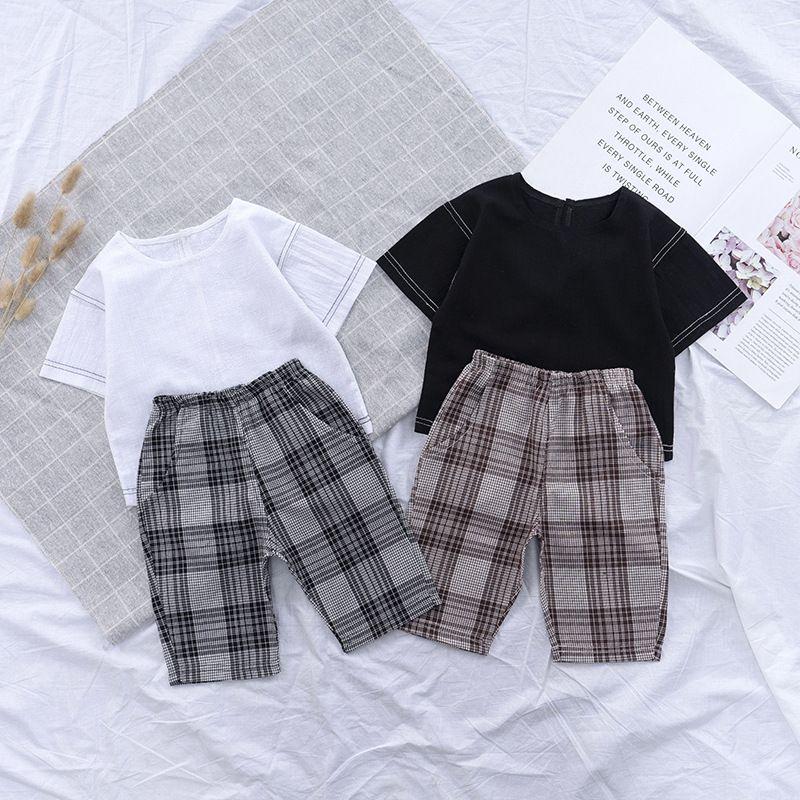 Crianças meninas meninos tracksuit fashion moda 2pcs roupas conjunto tshirt + calça curta trilhas coreanas crianças designers roupas