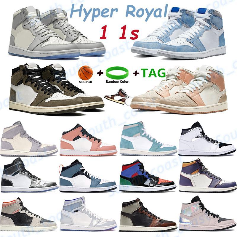 Hyper Royal 1 1s رجل كرة السلة أحذية ترافيس سكوتس الذئب رمادي الشراع منتصف الوردي الكوارتز لا إلى شيكاغو الرجال النساء أحذية رياضية المدربين الرياضة