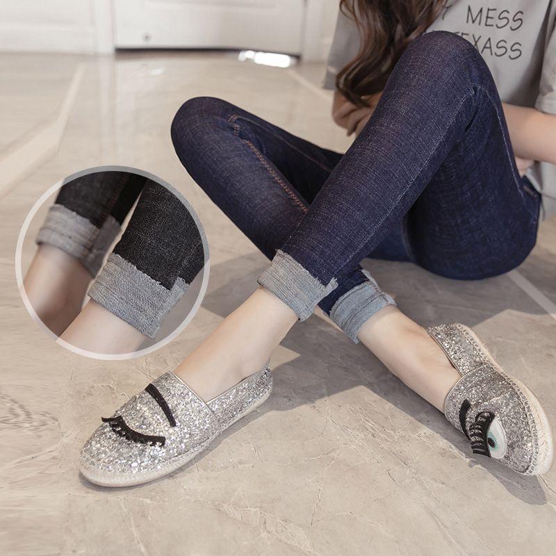 2020 Primavera Nuevas Jeans Mujeres Middle School Students Slim Elastic Pierna Pantalones largos Tendencia coreana
