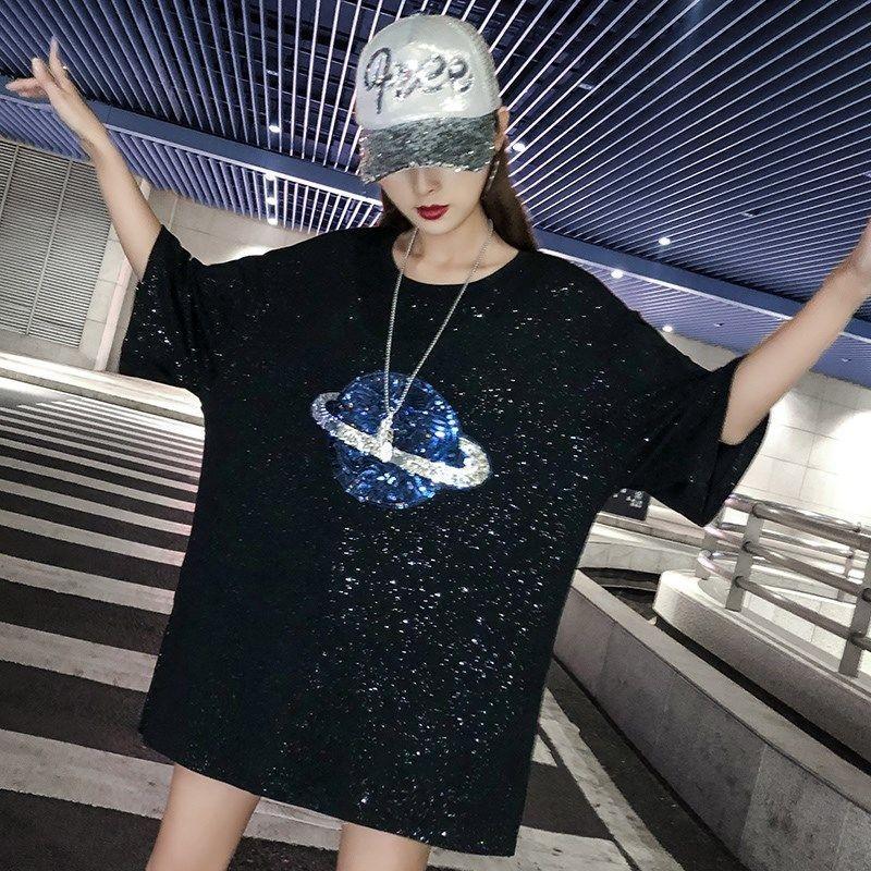Summer 2021 Korean T Shirts Loose Cotton Sequins T-shirt Female Short Sleeve Tshirt Streetwear Casual Harajuku Dance Women's