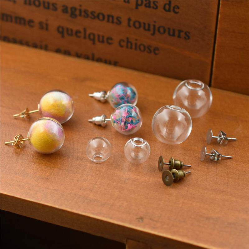 1pair Hollow Glass Ball With Ear Studs Silver Color Stainless Steel Earrings Wire Set Orb Vials Earring Bottle Stud