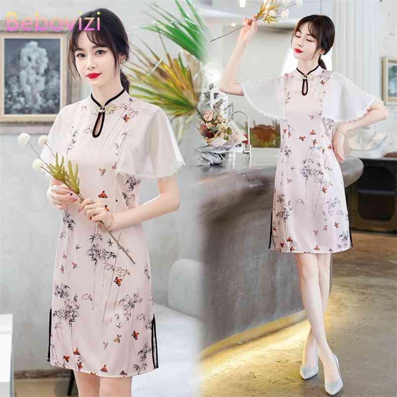 Plus Größe M-4XL Eleganter moderner Trend chinesische Art Shanghai Sommer Kurzarm A-line cheongsam kleider für frau qipao kleidung 210603