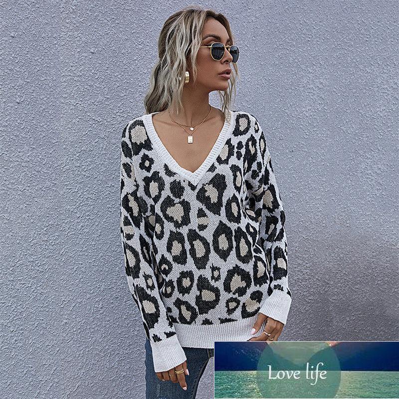 Moda leopardo jumper suéter outono inverno senhoras tricotadas camisola mulheres v-pescoço de manga completa