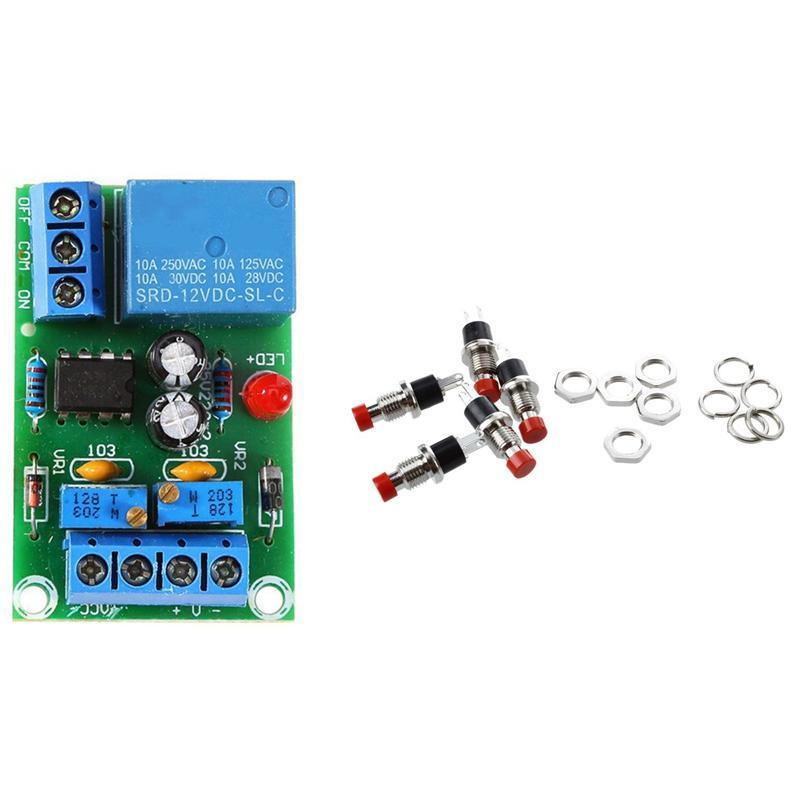 Smart Home Control Promotion! 5 X 2 Pin SPST OFF/(On) N/O Red Round Push Button Switch With 12V Battery Automatic Charging Controller Module