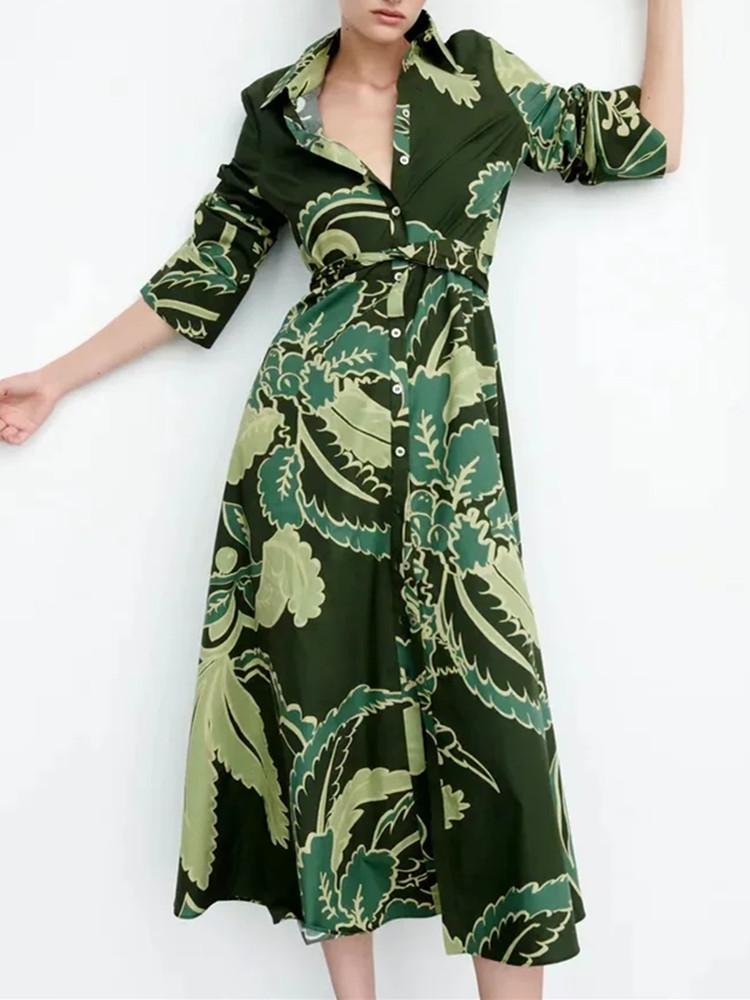 Casual Dresses 2021 Green Belt Shirt Dress Woman Vintage Long Sleeve Tied Autumn Womens Chic Button Up Causal Loose Print Midi