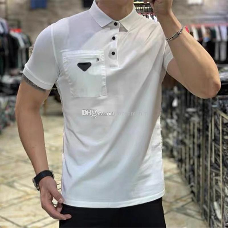 2021 Mens Polos Hemd Marke Klassische T-shirt Männer Designer Tees Stickerei Kurzarm Sommer Revers Streifen Feste Farbe Brustbuchstabe Frauen Dekoration Tops