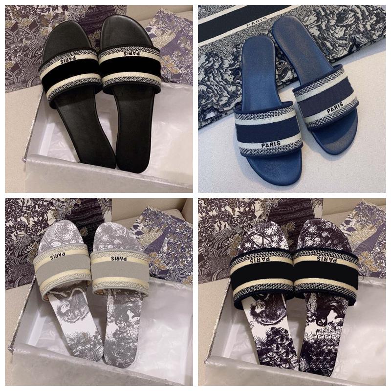Clássicos Sandálias Moda Chinelos Slides Floral Brocade Engrenagem Bottoms Flip Flops Mulheres Sapatos Listrado Praia Causal Slipper Home011 27