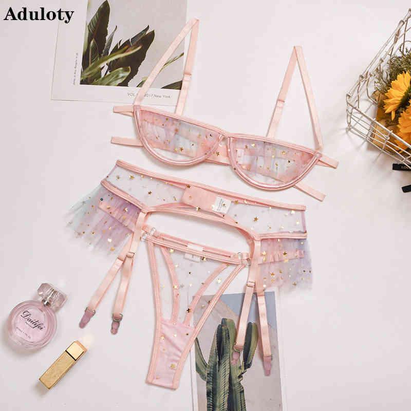 aduloty 레이스 중공 섹시 브래지어와 팬티 세트 밝은 별 소녀 심장 속옷 슈트 대비 스팽글 메쉬 가터 란제리 세트 210423