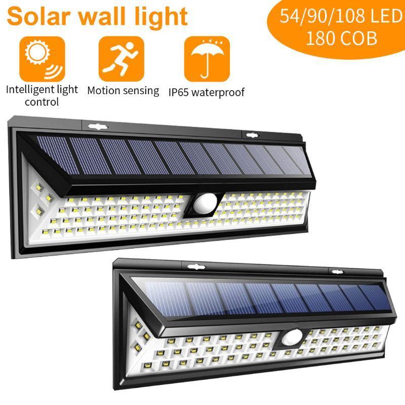 태양 램프 LED 램프 54 / 90 / 118led 정원 장식 모션 센서 야외 거리 벽 비상 보안 빛