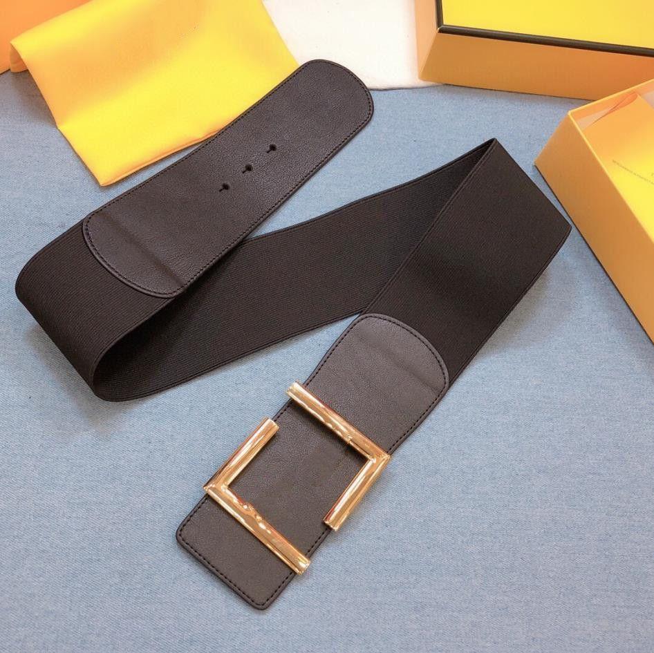 2021 f أزياء المرأة أحزمة الجملة جلد طبيعي حزام مطاطي الكلاسيكية ل wowen عرض 7CM مع مربع
