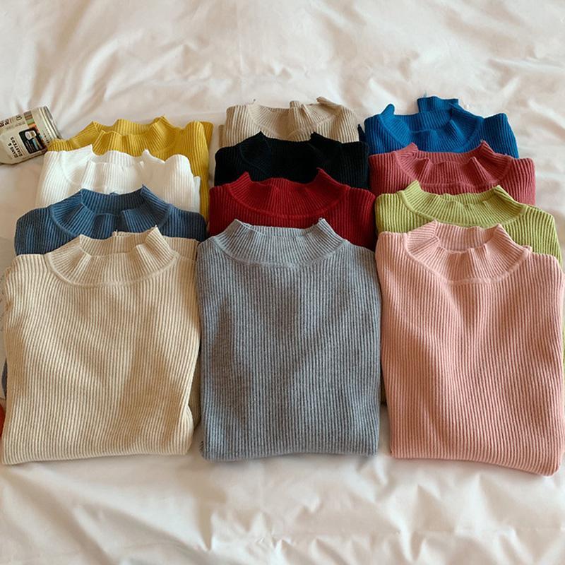 Autumn Winter Turtleneck Pullovers Sweaters Primer Shirt Long Sleeve Short Korean Slim-fit Tight Sweater Ladies Clothing Women's