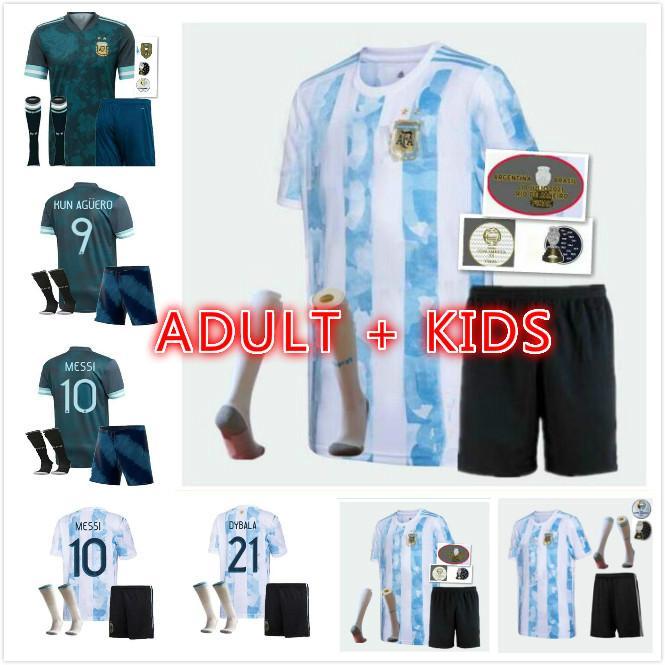 Erwachsene Kinder-Kit + Socken 21/22 Argentinien Fußball-Trikots 2021 Copa Messi Dybala Kun Aguero LO Celso Martinez Tagliafico Jersey Football Shirt