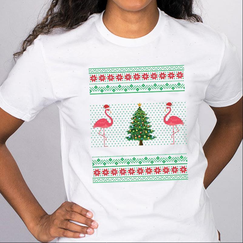 Womens T-shirts Frauen Grafik Flamingo Kurzarm Drucken Frohe Weihnachten T-Shirts Kleidung Kleidung Druck Tops Dame Weibliches Hemd