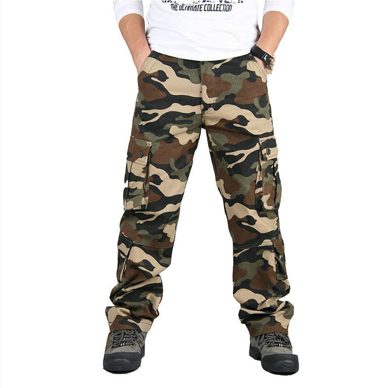 Spring Autumn Camouflage Military Pants Men Casual Camo Cargo Trousers Cotton Multi-pocket Urban Overalls Tactical 42 44 Men's