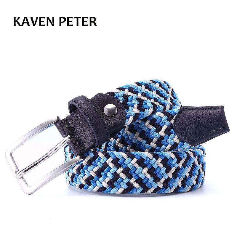 Italian Design Mens Leather Trançado Elastic Stretch Cruz Buckle Casual Cinto de Golfe Cintura de Quatro Color Elastic Mistion Trançado 210322