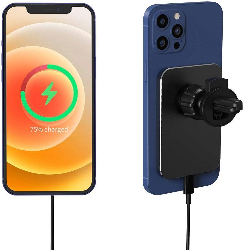 Support de chargeur de voiture sans fil magnétique de 15W pour iPhone 12/12 PRO / 12 MINI / 12 PRO Max, chargement rapide Auto-alignement Air Titulaire du chargeur Compatible avec Magsafe Charger