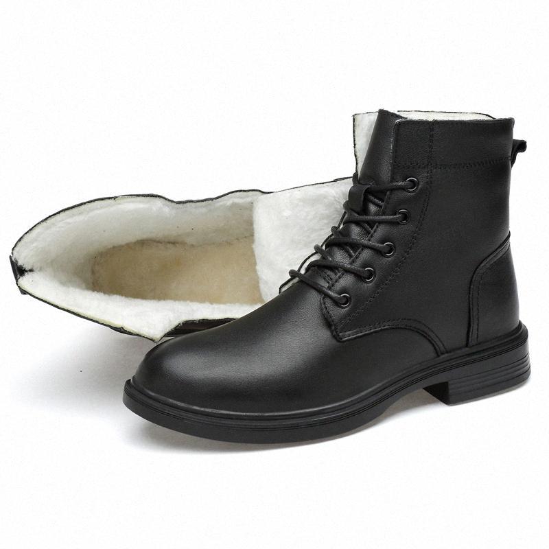 Botas para hombre Botas de nieve de la Guerra de Piel de Invierno Calidad 100% Zapatos de cuero genuino Lace Up Boats de cuero Hombres Snow 87Y6 #