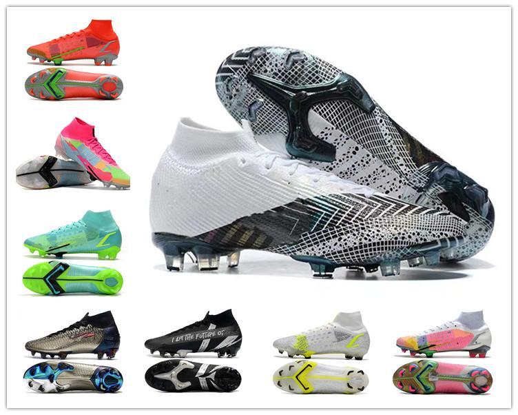 Mercurial Superfly CR7 VII 7 Safari كوريا النخبة الطول الموجي المستقبل مختبر Hyper Crimson FG Soccer Shoes الشباب أطفال كرة القدم أحذية جونيور المرابط