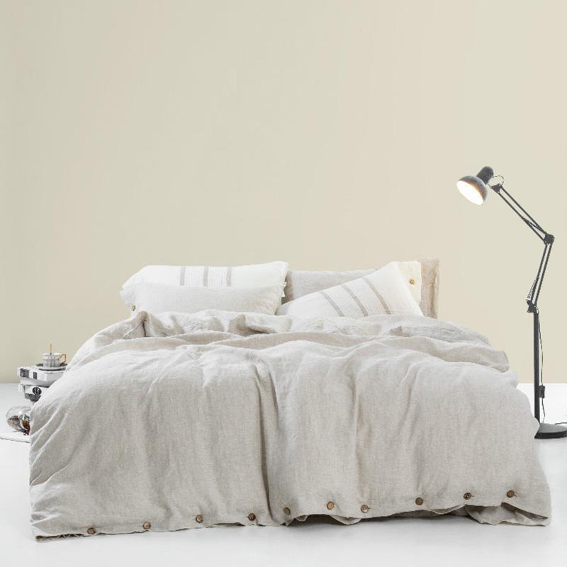 Bettwäsche-Sets 3 stücke gewaschene Frankreich-Bettwäsche Kalifornien King-Size-Set Queen-Bettbezug-Deckel durchgezogene Farbe Flachs-Quilt-Bett mit Kissenbezug
